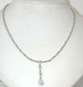 20: 14K White Gold Diamond Necklace!