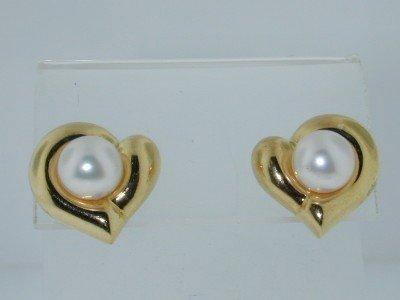 21: 18k Yellow Gold Pearl, Earrings!