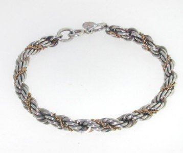 1: Tiffany & Co 14K Yellow Gold, Silver Bracelet