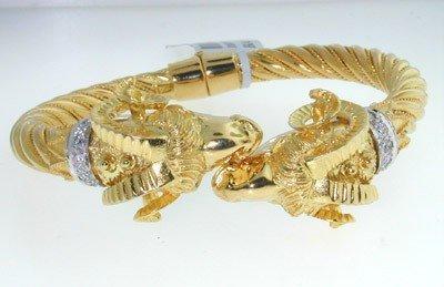 237: Lalaounis 18K Yellow Gold, Diamond Bangle
