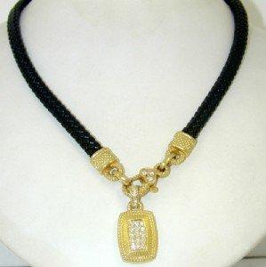 156: Judith Ripka 18K Yellow Gold, Diamond Necklace