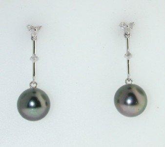 11: 10K White Gold Diamond & Pearl Earrings