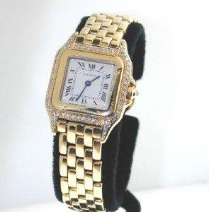 250: Cartier 18K Yellow Gold, Diamond Watch.