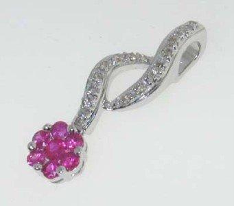 7: 14K White Gold Diamond & Ruby Pin