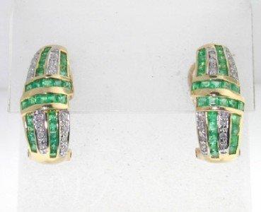 9: 10K Yellow Gold, Diamond & Emerald Earrings