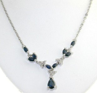 14: 10k White Gold Diamond & Sapphire Necklace.
