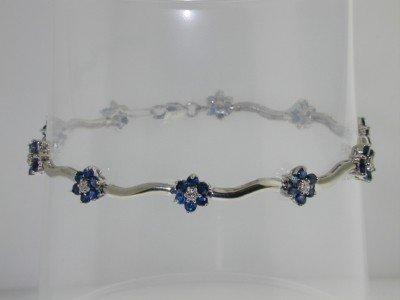 16: 10k White Gold  Sapphire and Diamond Bracelet