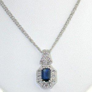 24: 10k White Gold Diamond & Sapphire Necklace.