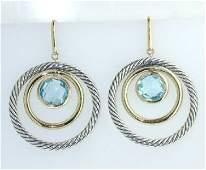 58: David Yurman 18k Gold /Silver Blue Topaz Earrings!