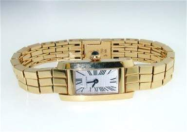 300: Cartier 18K Yellow Gold, Cabochon Sapphire Watch