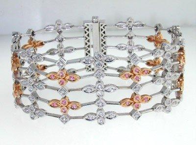 321: Salavetti 18K 2-toned Gold,Diamond & Sapphire Brac