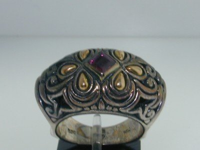 13: BJC 18K Yellow Gold/Silver Tourmaline Ring