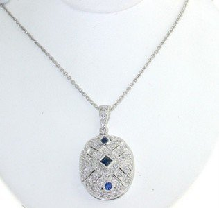 21: 14K White Gold Diamond & Sapphire Necklace.