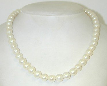 23: 14K White Gold Diamond & Pearl Necklace.