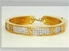 232: Cartier 18Kt Two-Tone Gold Diamond Bangle!