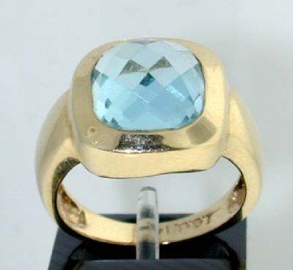 18: 14K Yellow Gold Blue Topaz Ring