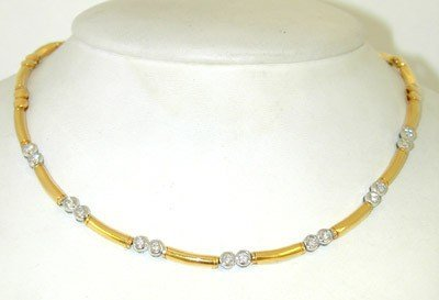 282: 18K Two - Toned Gold, Diamond Necklace.