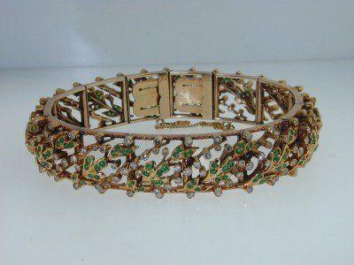 18K Yellow Gold Emerald, Diamond Bracelet