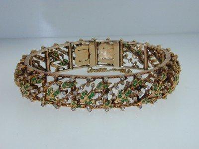 284: 18K Yellow Gold  Emerald, Diamond Bracelet