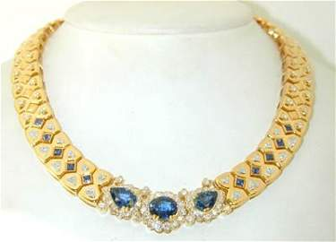 471: Van Cleef & Arpels 18K Gold,Sapphire & Diamond Nec