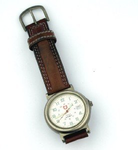 3: Swiss Army Stainless Steel, leather strap watch