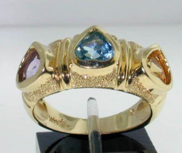 5: 14K Yellow Gold, Multi-color Stone Ring