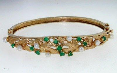 14K Yellow Gold Emerald & Pearl Bangle