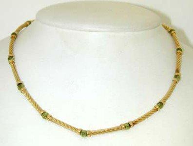 David Yurman 18K Yellow Gold, Peridot Necklace