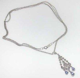 10K White Gold Tanzanite Diamond Necklace