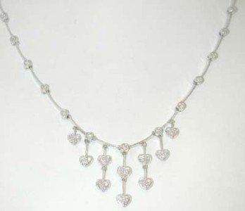 14K White Gold, Diamond Necklace.