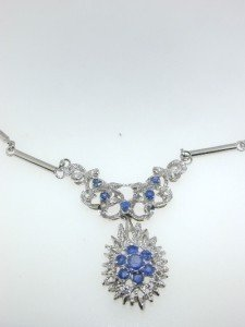 18k White Gold, Sapphire Necklace