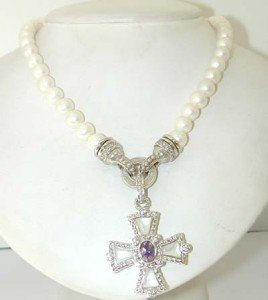 Judith Ripka Silver Pearl, Diamonique,Amethyst Necklace