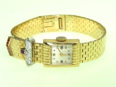 363: 18K Yellow Gold Diamond & Ruby Watch From 1950
