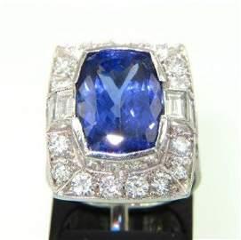 150: 18K White Gold, Tanzanite & Diamond Ring.