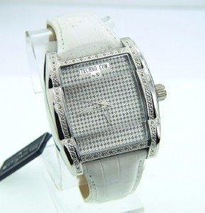 5: Techno Com Diamond Stainless Steel Leather Strap Wat