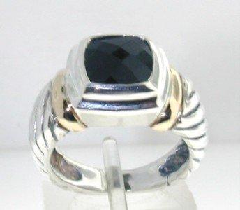 David Yurman Silver & 14K Yellow Gold Onyx Ring.
