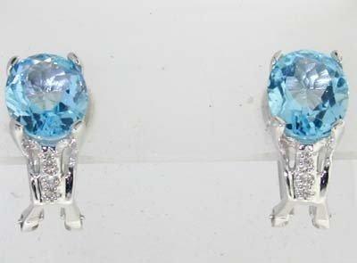14K White Gold Diamond, Blue Topaz Earrings