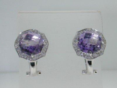 14K White Gold Diamond, Amethyst  Earrings