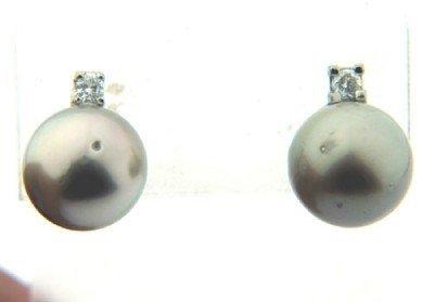 Platinum Pearl & Diamond Earrings