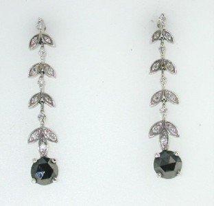 14K White Gold, White Diamond & Black Diamond Earri