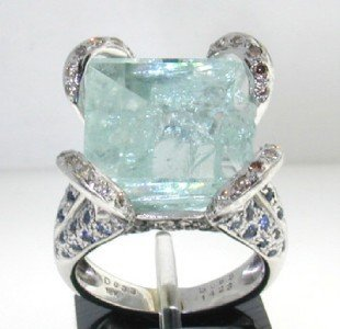 RW 18K Gold, Diamond, Sapphire & White Quartz Ring
