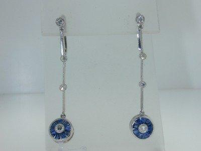 Platinum Sapphire & Diamond Earrings.