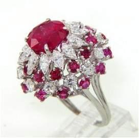 285: Platinum Burma Ruby & Diamond Ring.