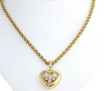 490: Chopard 18K Yellow Gold Happy Diamond Necklace!