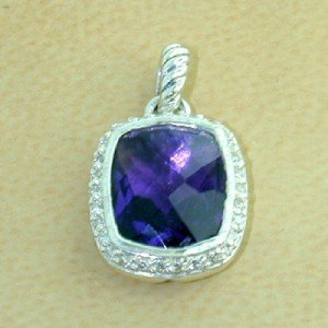 6: David Yurman Silver Amethyst & Diamond Pendant