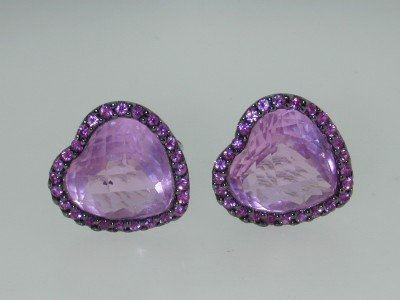1: 14k White Gold Pink Topaz &  Pink Sapphire Earrings