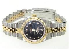 416: Rolex 18K Gold / Stainless Steel Diamond Ladies Wa