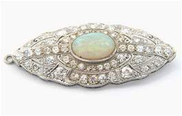 101: Antique Platinum Diamond Opal Pin