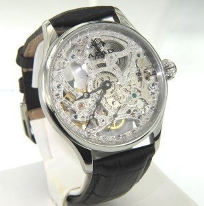 Azad Stainless Steel Skeleton Leather Strap Men watch
