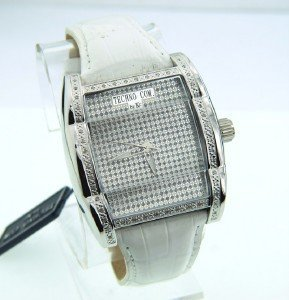 Techno Com Diamond Stainless Steel Leather Strap Watch